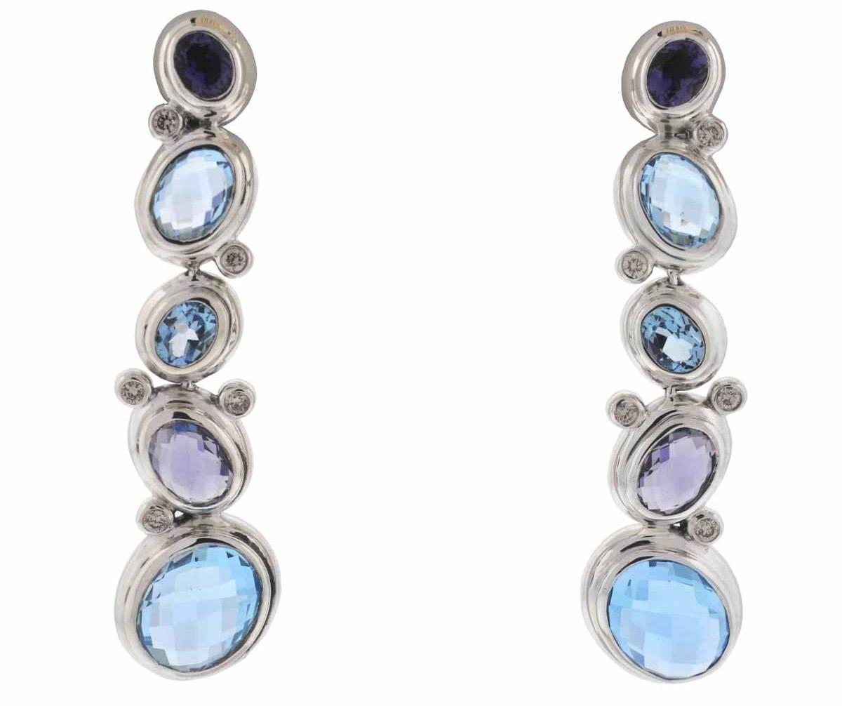 David Yurman Sterling Silver Blue Topaz and Amethyst Drop Earrings