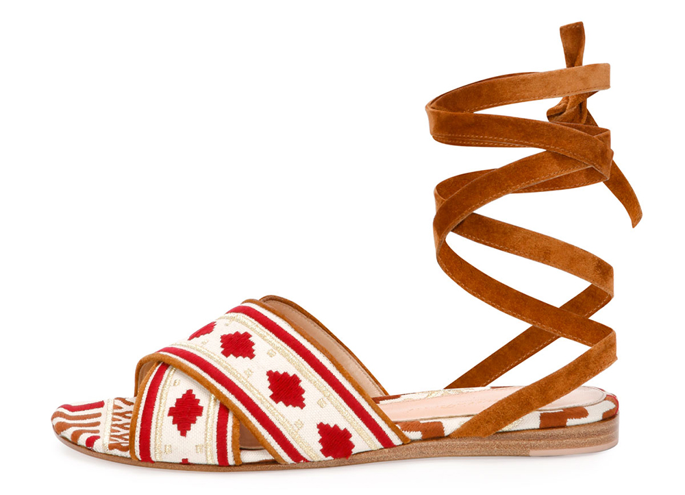Gianvito Rossi  Geometric-Embroidered Ankle-Wrap Flat Sandal
