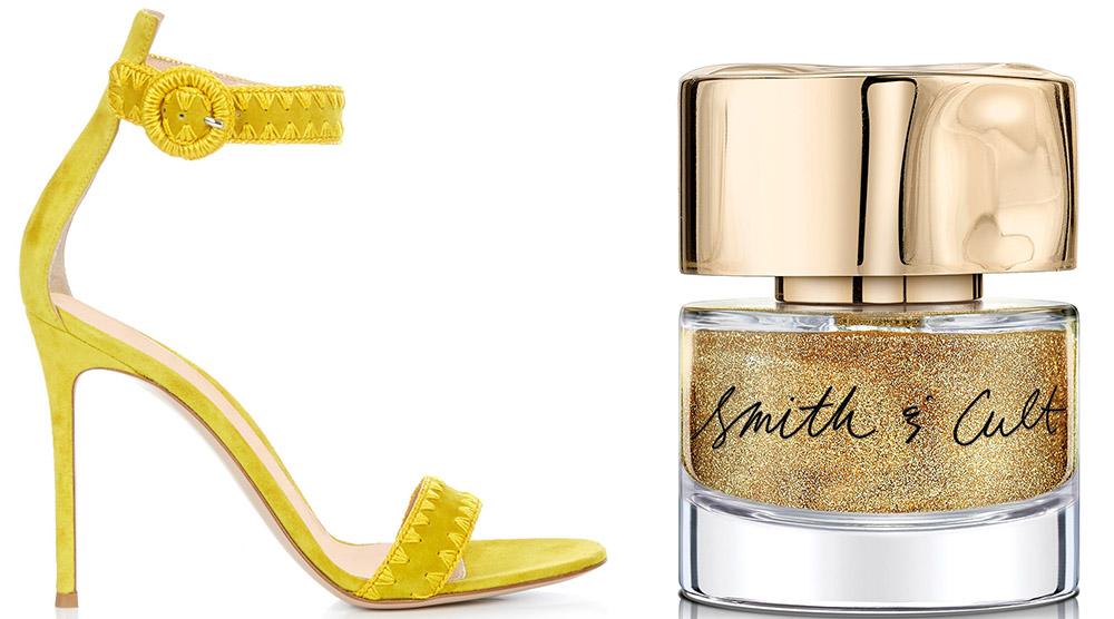 Gianvito Rossi Antigua Contrast-Stitch Suede Sandals $695 via MATCHESFASHION.COM  Smith & CultBridge & Tunnel Nail Polish $18 via Bergdorf Goodman