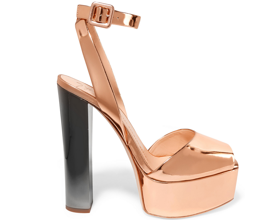 Giuseppe Zanotti Mirrored-Leather Platform Sandals