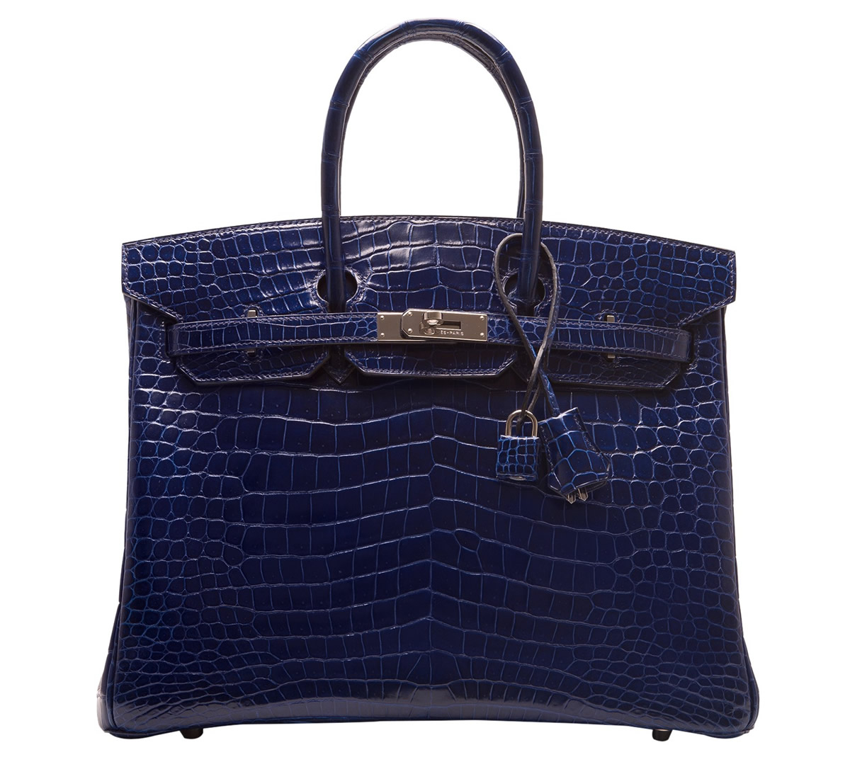 Hermes Blue Sapphire Shiny Porosus Crocodile Birkin 35cm Portero