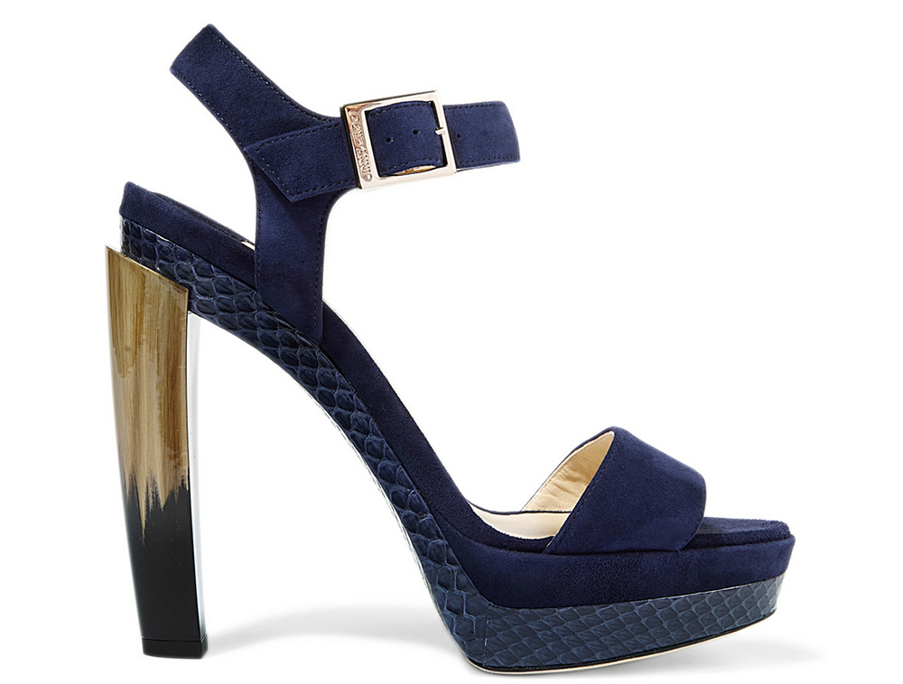 Jimmy Choo Dora Elaphe-Trimmed Suede Sandals