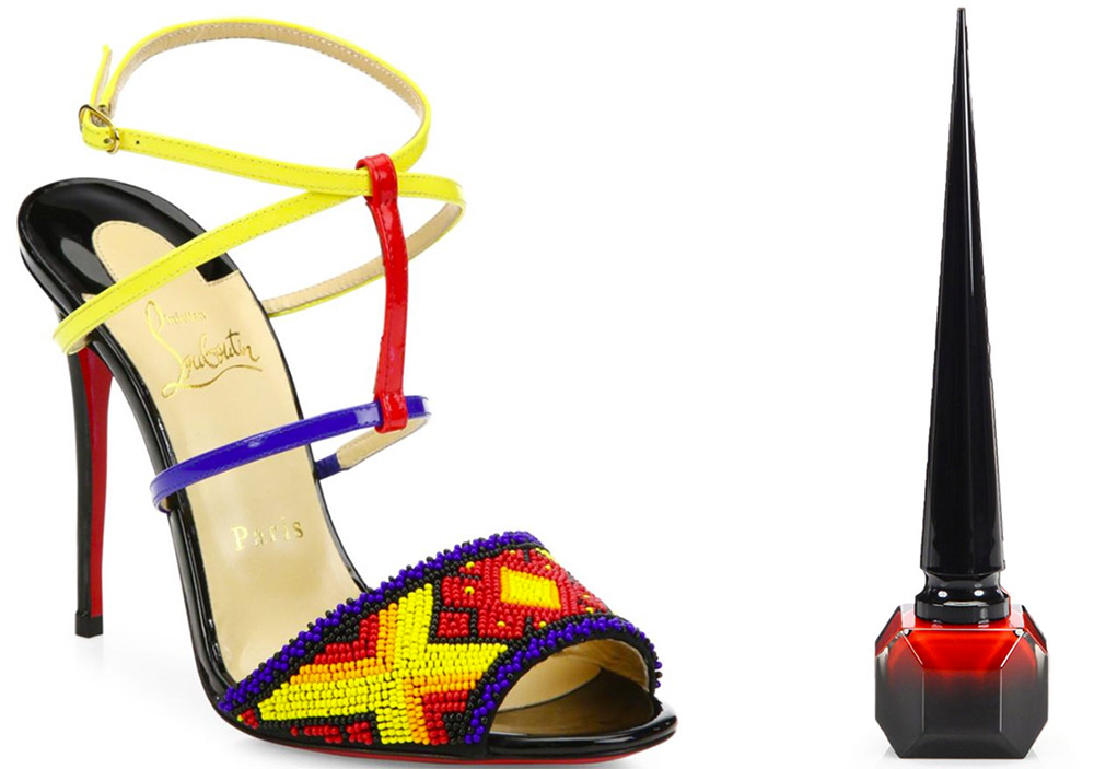 Christian Louboutin Tipika Beaded Leather Sandals $1,495 via Saks  Christian Louboutin Rouge Louboutin Nail Colour $50 via Saks
