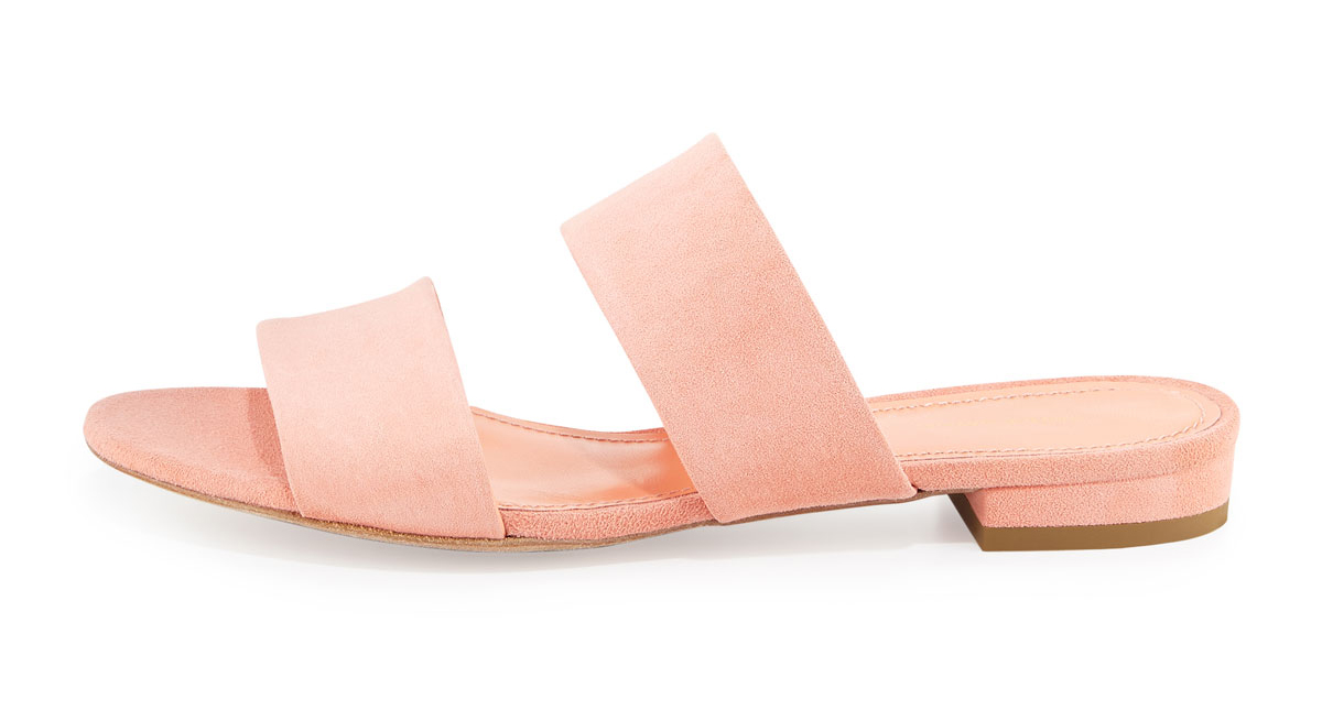Mansur Gavriel  Suede Two-Band Flat Slide Sandal