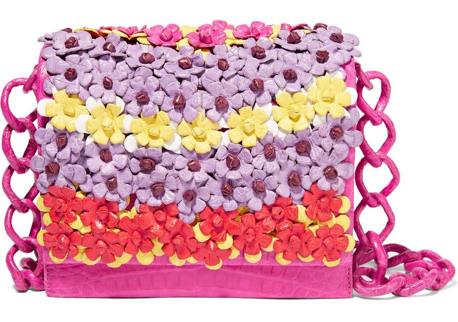 Nancy-Gonzalez-Floral-Applique-Crocodile-Crossbody-Bag