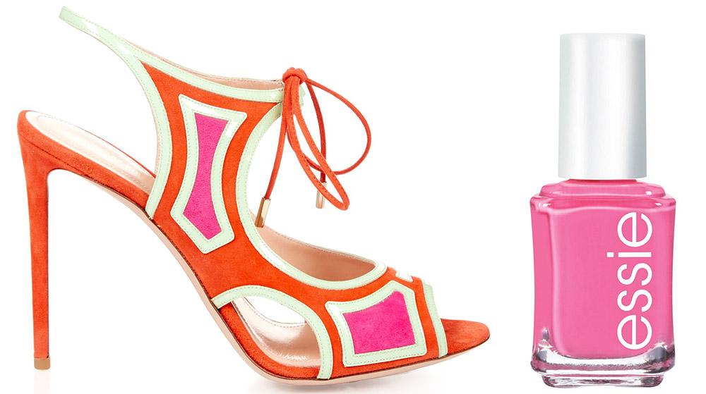 Nicholas Kirkwood Outliner Suede and Patent-Leather Sandals $925 via MATCHESFASHION.COM  Essie Mob Square Nail Color $8.50 via Macy's