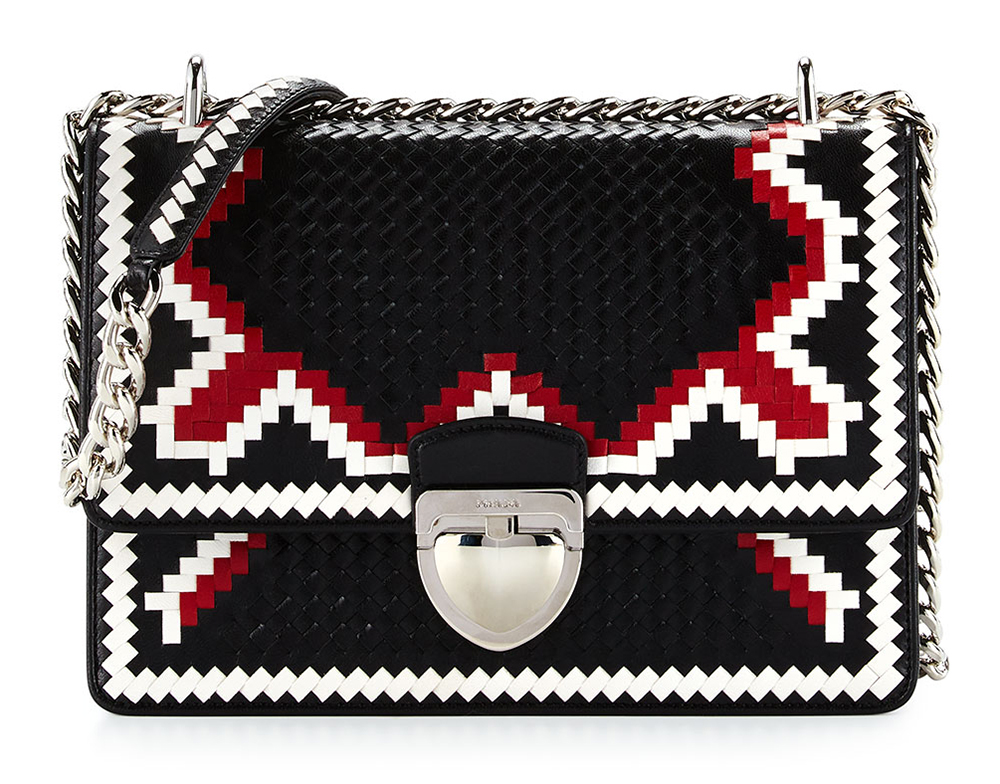Prada-Woven-Madras-Shoulder-Bag