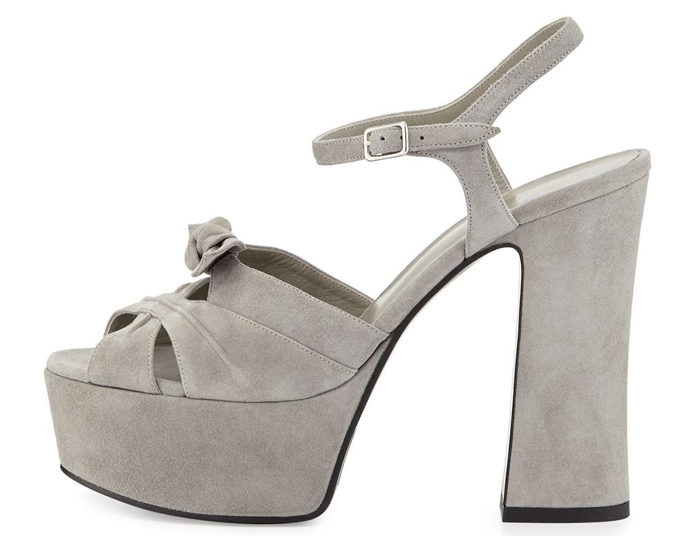 Saint Laurent Candy Suede Platform Sandal