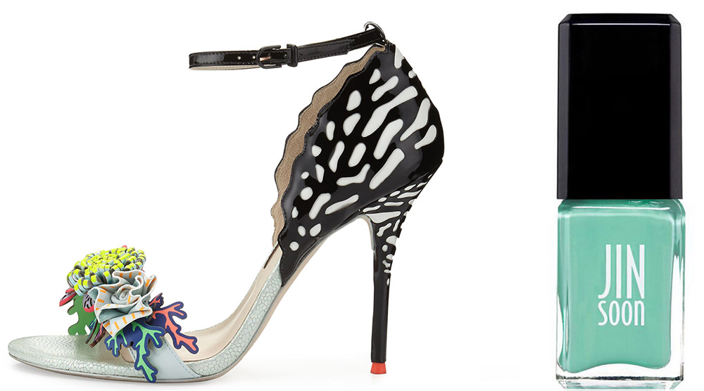 Sophia Webster Lilico Underwater d'Orsay Sandal $650 via Bergdorf Goodman Jin Soon Keppel Nail Polish $18 via Barneys
