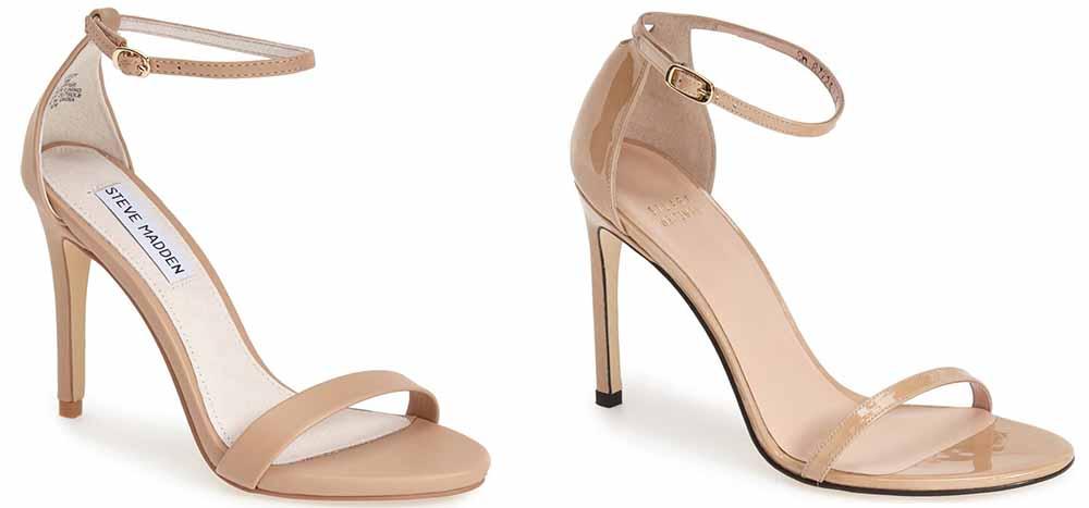 Steve Madden Stecy Sandal $80 via Nordstrom  Stuart Weitzman Nudistsong Ankle Strap Sandal $398 via Nordstrom