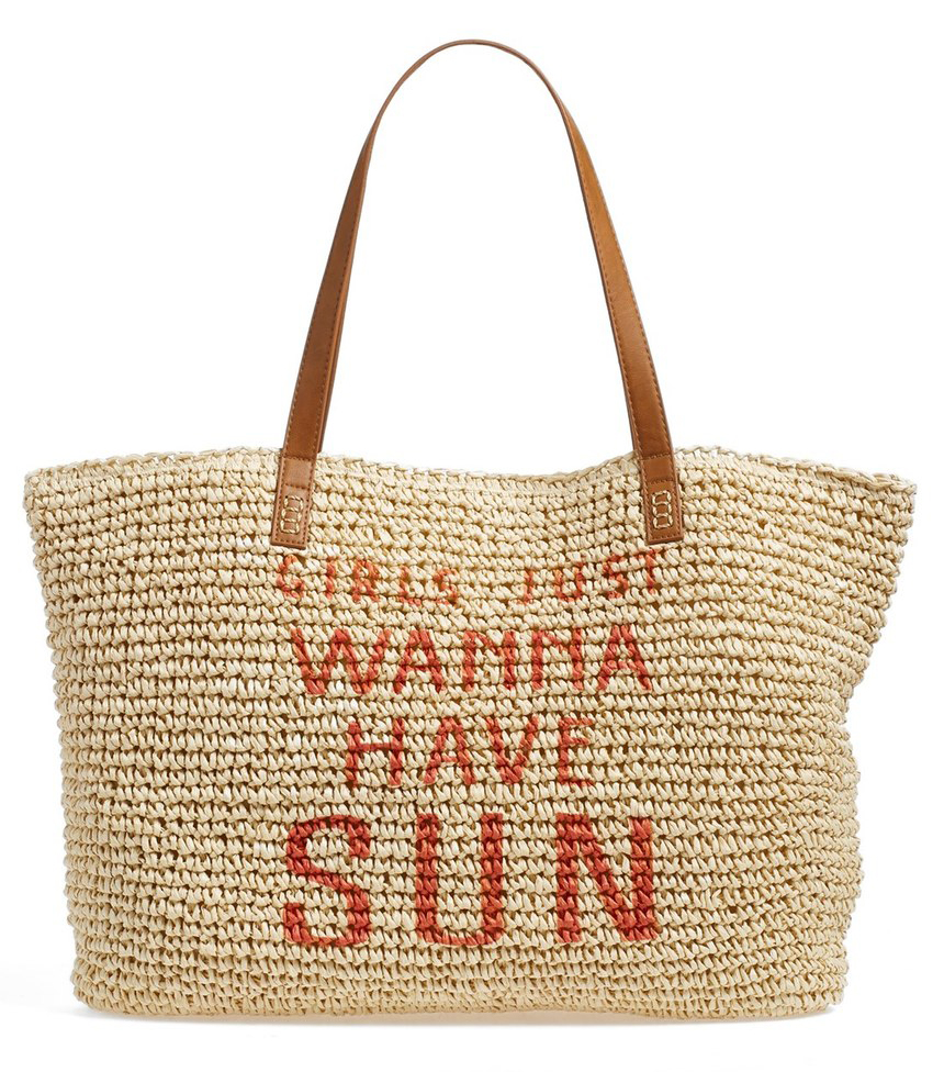 And to go with your cute swimsuit, a cute bag! Specifically a beachy straw or raffia one. Carry it nonstop till Labor Day.