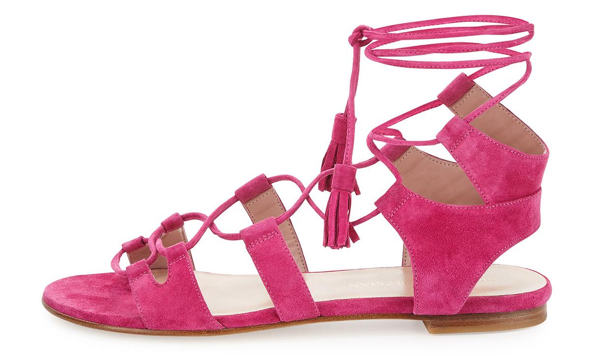 Stuart Weitzman  Romanflat Suede Flat Gladiator Sandal
