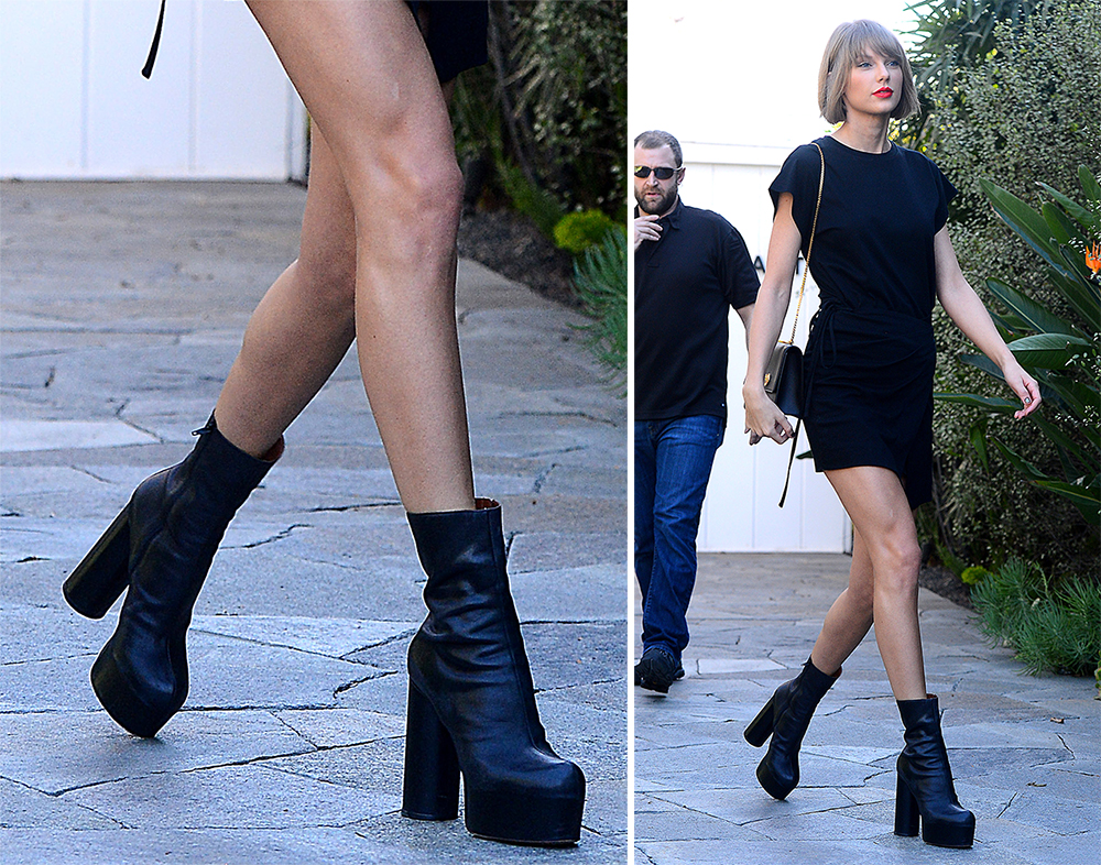Taylor Swift S Been Having A Love Affair With Chunky Heeled Shoes Lately Purseblog