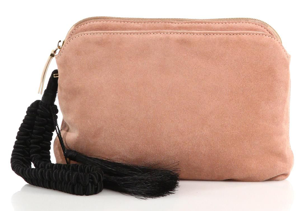 The-Row-Suede-Tassel-Wristlet-Clutch
