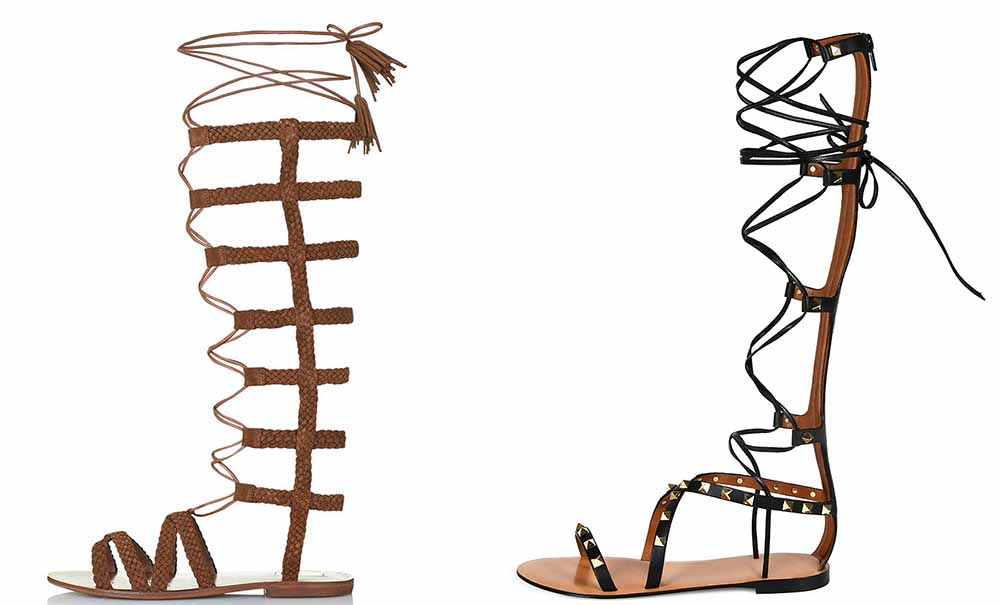 TopShop Faraday Hi Plaited Sandals $85 via TopShop Valentino Rockstud Knee-High Gladiator Sandal $1,475 via Bergdorf Goodman