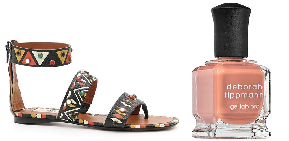 ValentinoAnkle Strap Sandal $1,575 via Nordstrom  Deborah Lippmann Peaches & Cream Nail Polish  $20 via Sephora