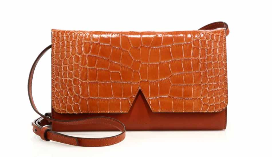 Vince Signature V Crocodile-Embossed Leather & Smooth Leather Crossbody Bag