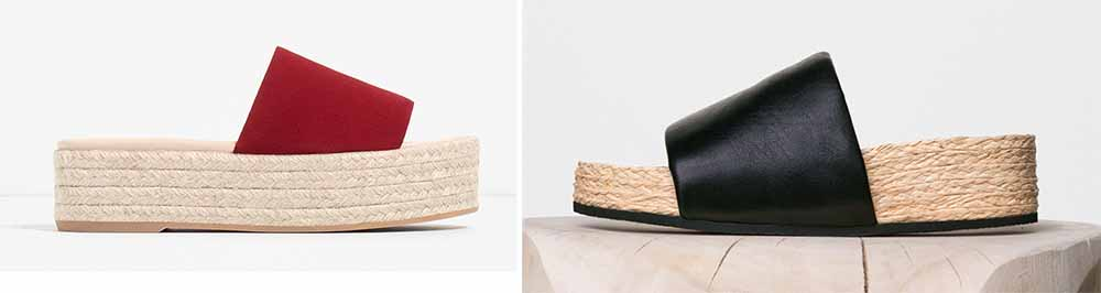 Zara Leather Platform Slides $70 via Zara  Céline Padded Band Sandals $810 via Céline