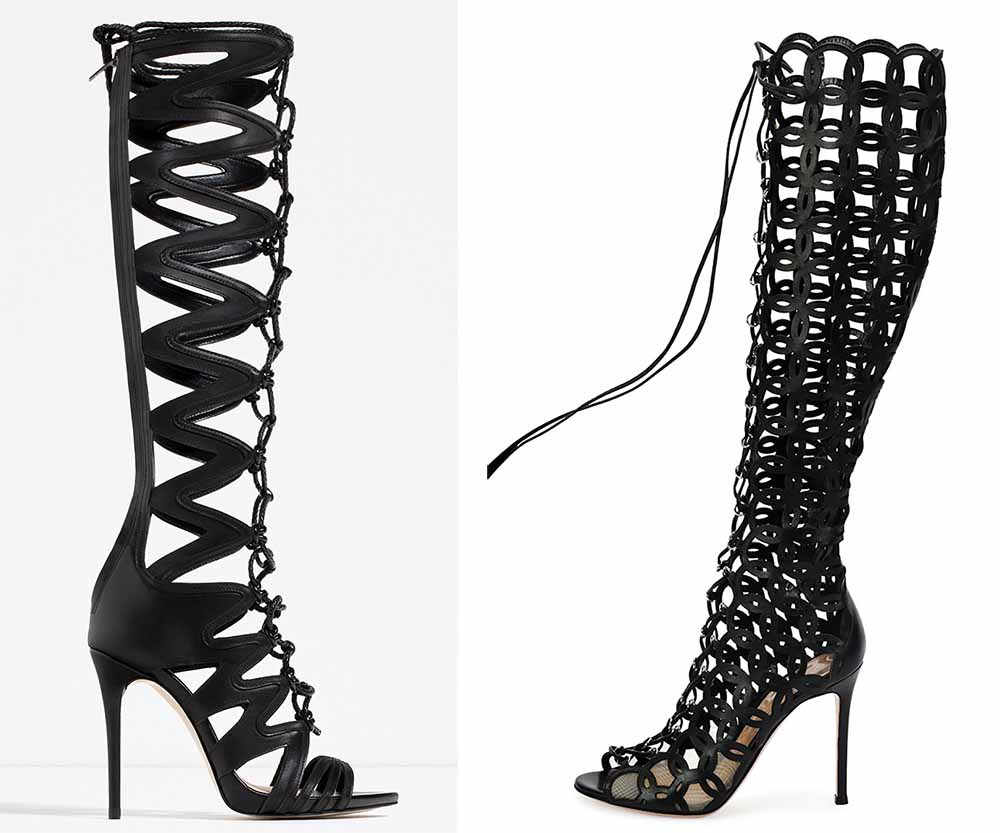 Zara Leather Roman Sandals $239 via Zara  Gianvito Rossi Laser-Cut Open-Toe Leather Knee Boot $2,745 via Bergdorf Goodman