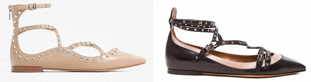 Zara Studded Ballerinas $70 via Zara  Valentino Love Latch Leather Flats $975 via Forward by Elyse Walker