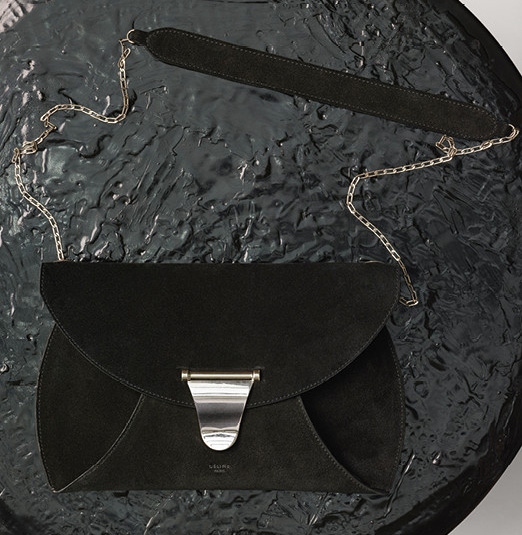 Celine-Chain-Bag-Black-Suede-1400