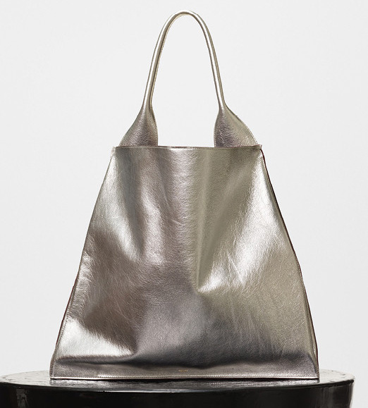 Celine-Medium-Shopper-Shoulder-Bag-Silver-2500