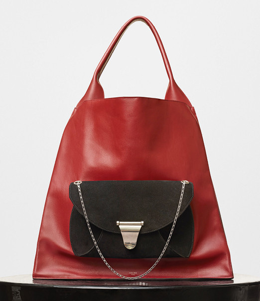 Celine-Medium-Shopper-Shoulder-Bag-with-Pocket-Red-3750