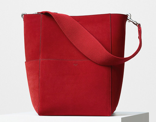 Celine-Seau-Sangle-Bag-Red-Suede-2350