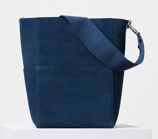 Celine-Seau-Sangle-Shoulder-Bag-Blue-Suede-2350