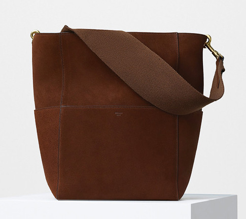 Celine-Seau-Sangle-Shoulder-Bag-Suede-Brown-2350