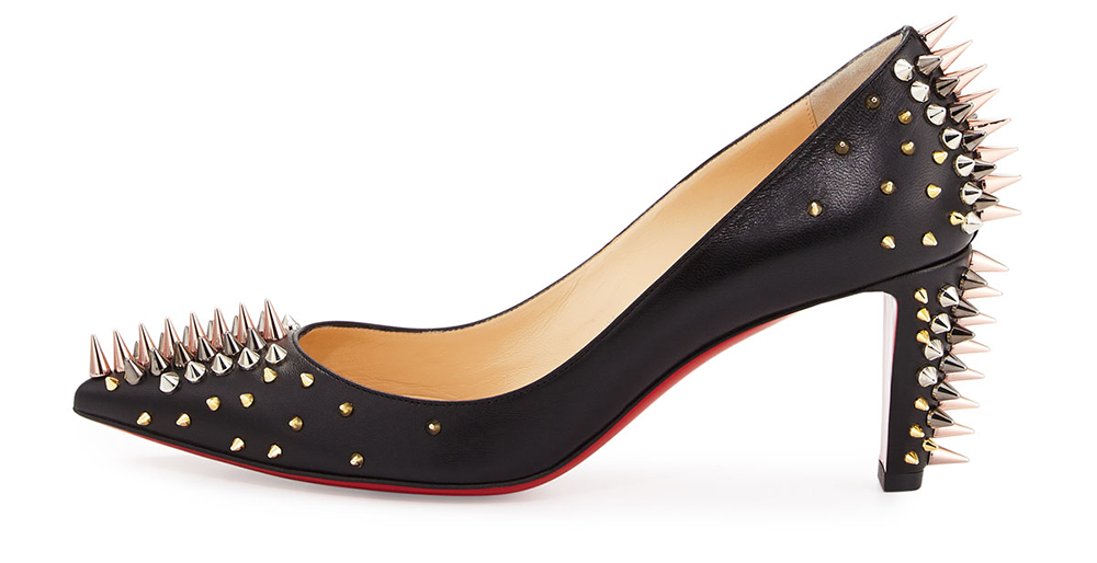 Christian Louboutin  Dinosa Spiked Leather Red Sole Pump