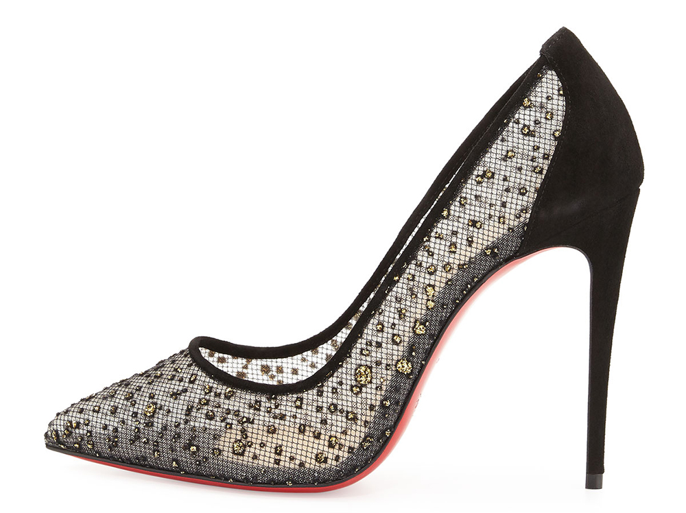 Christian Louboutin Follies Embellished Tulle Red Sole Pump