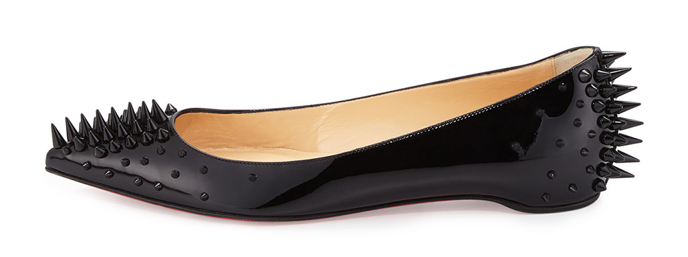 Christian Louboutin Goldoflat Spiked Red Sole Skimmer