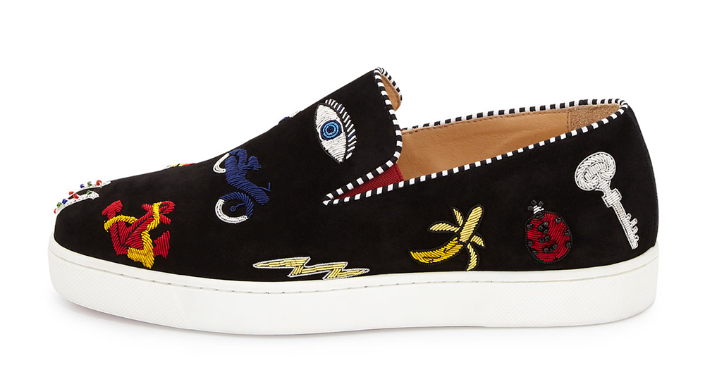 Christian Louboutin Pik N Luck Flat Suede Red Sole Sneaker