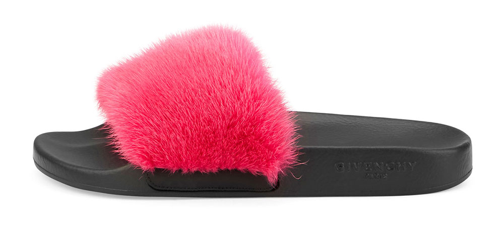 Givenchy--Mink-Fur-&-Rubber-Slide-Sandal