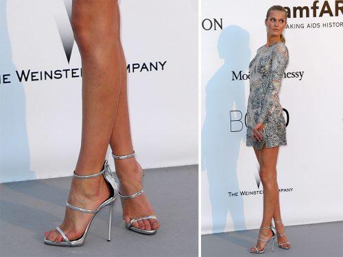 Toni Garrn Giuseppe Zanotti Metallic Three Strap Sandals