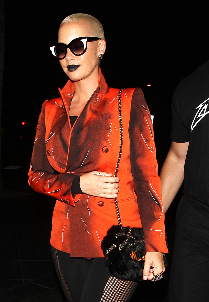 Amber-Rose-Moschino-Fur-Flap-Bag