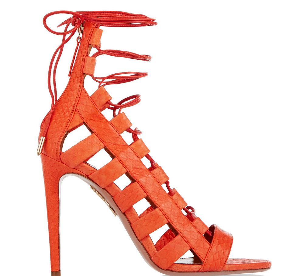 Aquazzura Amazon Lace-Up Elaphe Sandals