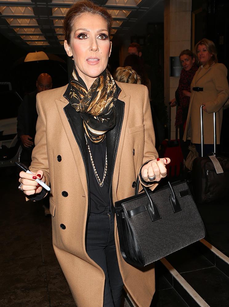 Celine-Dion-Saint-Laurent-Studded-Sac-de-Jour-Bag