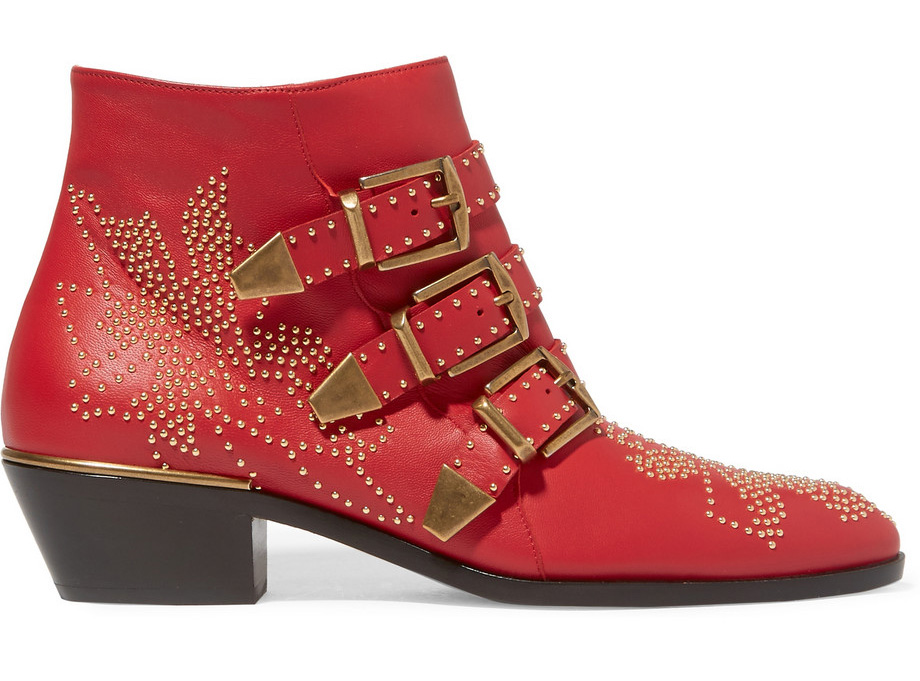 Chloe Susanna Studded Textured-Leather Ankle Boots