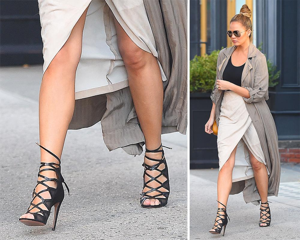 Chrissy-Teigen-Black-Strappy-Sandals