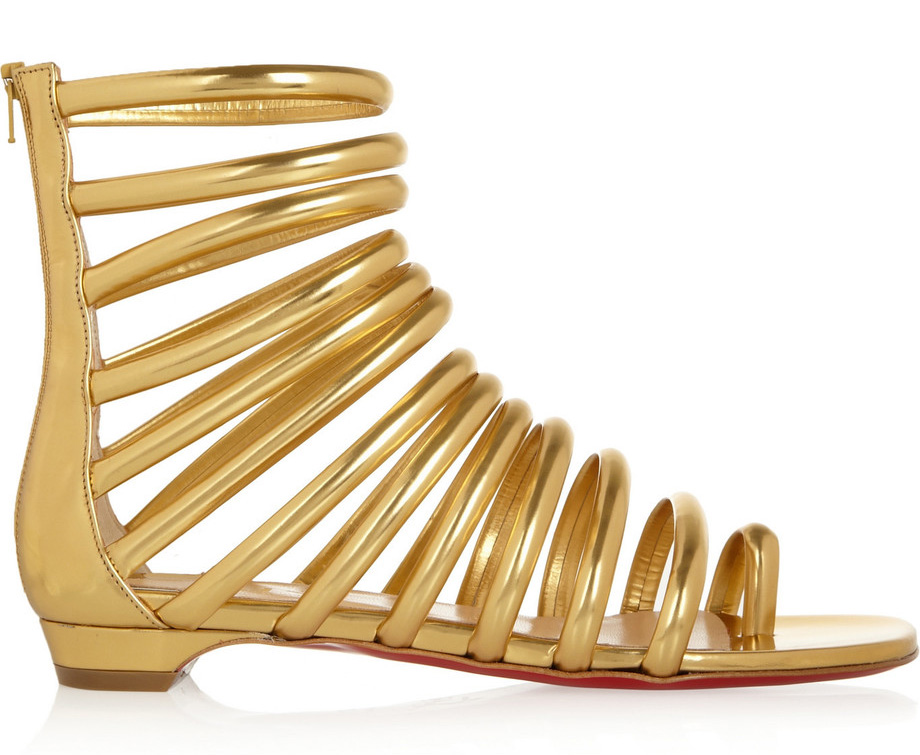 Chrsitian Louboutin Catchetta Metallic Leather Sandals