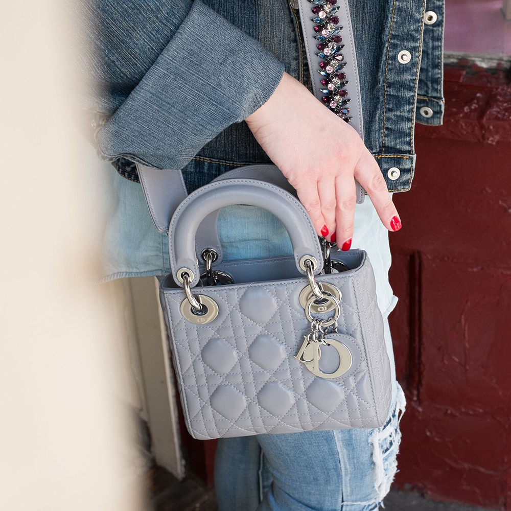 Labellov Dior Grey Patent Quilted Mini Lady Bag And ... 32621424545c4
