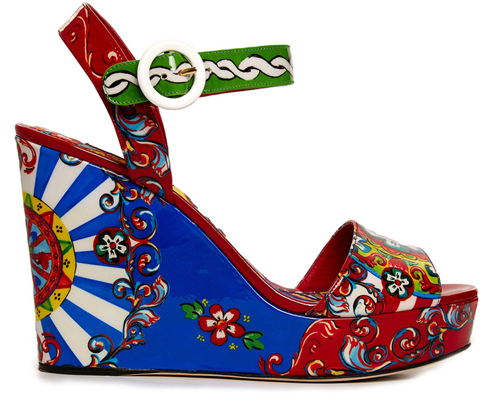 Dolce and Gabbana Carretto-Print Wide-Strap Wedges