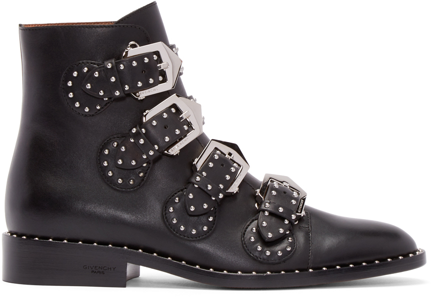 Givenchy  Black Leather Studded Buckle Boots