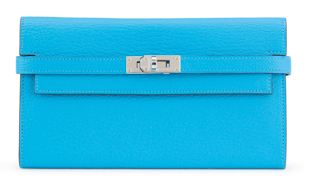 Hermes-Kelly-Long-Wallet-Blue-Aztec-Chevre-