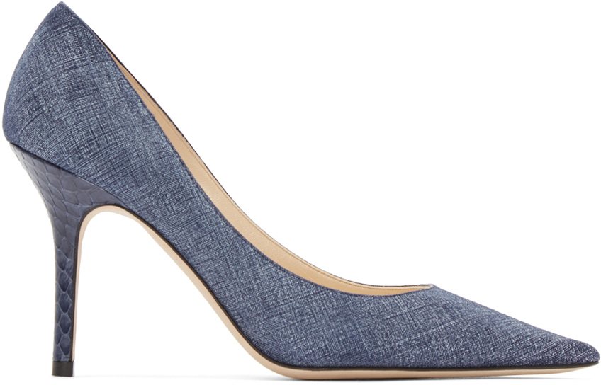 Jimmy Choo  Blue Denim & Elaphe Agnes Pumps