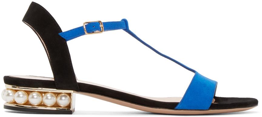 Nicholas Kirkwood Blue Suede Casati Pearl Sandals