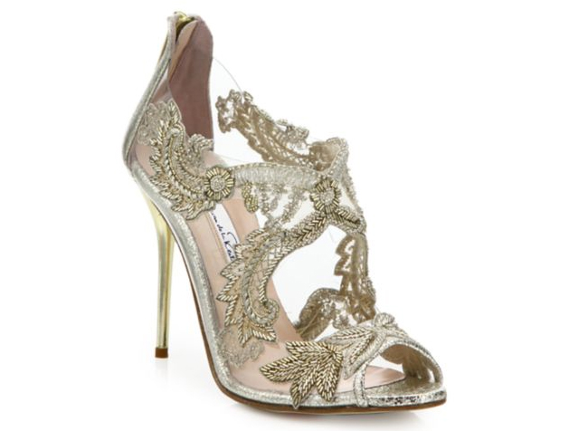 Oscar de la Renta Ambria Embroidered Metallic Peep-Toe Sandals