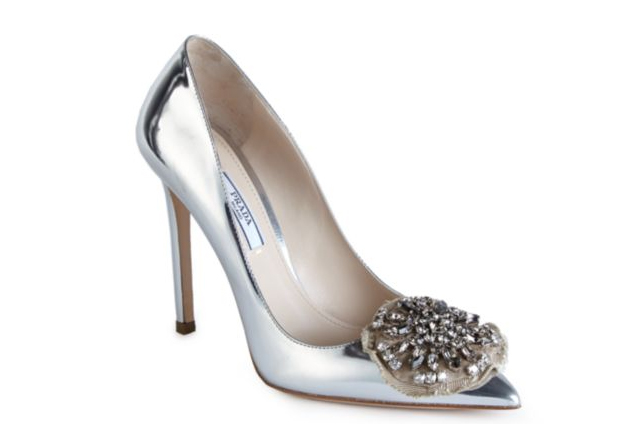 Prada Embellished Metallic Leather Pumps